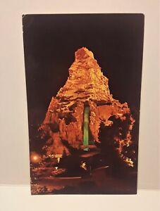 Vintage Disneyland Anaheim Postcard – MATTERHORN AT NIGHT- Late 1966
