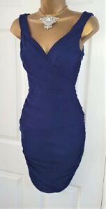 Phase Eight Blue Ruched Dress Evening Wedding Party Cocktail Dress 8 rrp £140