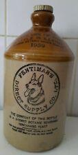 More details for vintage 1959 fentiman's ginger beer pictoral flagon bottle german shepherd dog