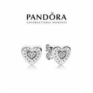 NEW Pandora Logo Heart Stud Earrings S925 With White Soft Pouch Xmas Gift
