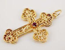 "Vintage 14K Ruby Handmade Filigree Cross 1 1/2"""