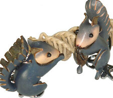 A Pair Set of Genuine Leather Key-chain/bag-charm,Cute Squirrel Pattern,Gray