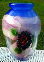 """Murano Art Glass Blue-Pink Iridescent  Millefiori Vase 10""""H x 8.5""""W Beautiful"""