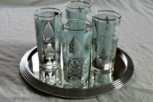 STYLISH FRENCH ART DECO CHROME & MIRRORED GLASS APERITIF COCKTAIL DRINKS TRAY