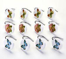 Butterfly Garden Bathroom Shower Curtain Hooks - Set of 12 Curtain Rod Hangers