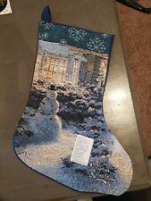 Nwt Thomas Kinkade Tapestry Snowman Stocking Brand New 100% Cotton Usa Made