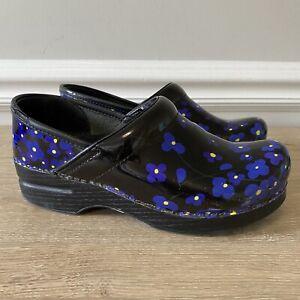 Dansko Professional Patent Leather Women's Nursing Clog Viola Blue Flowers 37