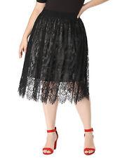 5c3fb04b42d Women s Plus Size Knee Length High Waist A-line Flare Lace Skirt Black 3x