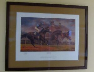 FRED STONE THE FINAL CALL JOHN HENRY SIGNED DOUBLE MATTED FRAMED PRINT EX COND