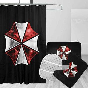 Resident Evil Umbrella Bath Mats Shower Curtain Non-Slip Toilet Lid Cover 4PCS