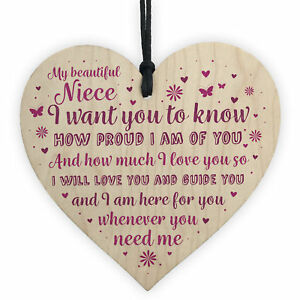 Niece Gifts From Auntie Uncle Christmas Birthday Handmade Wooden Heart Plaque