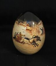 Russian Fedoskino lacquer egg with troika finely painted signed