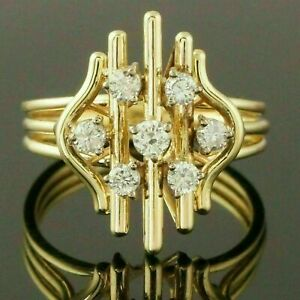 GORGEOUS ENGAGEMENT & WEDDING FLORAL RING 14K YELLOW GOLD FILLED 1.82 CT DIAMOND
