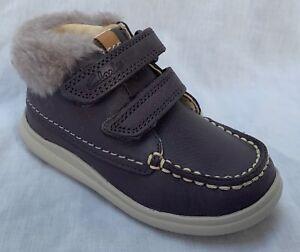 BNIB Clarks Baby Girls Cloud Flufi FST Grey Leather Air Spring Boots F/G Fitting