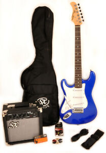 SX RST 3/4 EB Left Handed Electric Guitar Package Blue 3/4 Size +Bag Amp