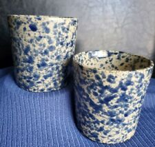 2 Moira Pottery Cups Blue Spatter Spongeware England