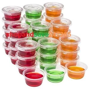 Round Food Containers Plastic Clear Tubs with Lids Deli Pots Sauce Dip 2oz & 4oz