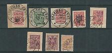 UKRAINE 1918 7 items with TRIDENT overprint USED on piece VF