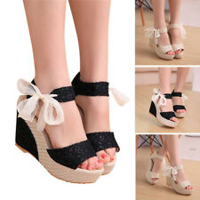 Fashion Women Summer Lace Up Flip Flops Sandals Loafers Wedges High Heeled Shoes