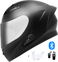 2021 GDM Venom Motorcycle Helmet with Intercom Bluetooth Headset + Chrome Shield