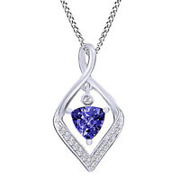 Purple Tanzanite & Diamond Kite Pendant Necklace 14K Solid White Gold