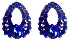 Beautiful Blue Tear Drop Diamante Earrings Stud For Pierced Ears Water UK E110