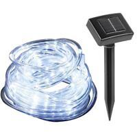 23ft 50LED Solar Power Rope Tube Lights Strip Waterproof Outdoor Garden White GA