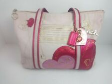 Coach POPPY Pink Leather Hearts Glam Tote Shoulder Bag 14551