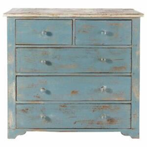 Handmade Indian Antique Style Wooden Chest of 5 Drawers (Blue)