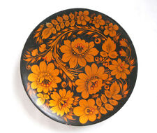 "7"" Vintage Flower Hand Painted Russian Dish Plate Soviet Wooden Folk Ethnic Deko"