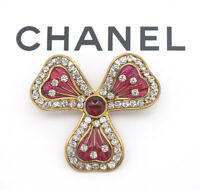 CHANEL CC Logo Red Gripoix Stone Brooch Gold Pin Vintage w/BOX v1372