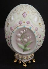 VINTAGE CYBIS Egg Porcelain Painted Lily Of The Valley 1983