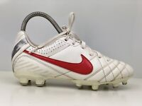 Nike Tiempo Natural IV Older Boys White Faux Leather Trainers UK Size 3