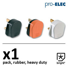 1 x 13 Amp Pro Elec Rubber Plug 13A Heavy Duty Mains Electrical 3pin