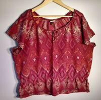SONOMA Women's Top Size 2X Short Sleeve Elastic Waist Beads Cotton Blend Boho
