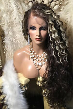 """AWESOME REALISTIC HAIRLINE! Black W Platinum Streaks 32"""" Spiral Curly Wig!"""