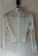 Antique Lace Victorian Edwardian High Collar Blouse Top