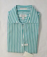 NEW FOXCROFT Women's Wrinkle Free Oxford Blouse Button Down Shirt Turq Stripe S
