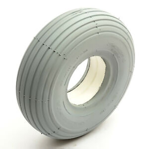 Solid PU Tyre 3.00-4 Grey Puncture Proof Mobility Scooter Rib Tread 4 Inch Rim