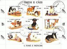 S. TOME' E PRINCIPE - Bustina 9 francobolli serie ANIMALI GATTI E CANI