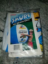 """Vintage 1982 Smurfs Giant 48"""" Beach Ball Inflatable Smurfette Coleco Sealed"""