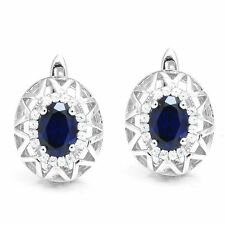 2ct 10 mm Luxury Blue Sapphire Earrings Solid 925 Silver Special Occassion Hot