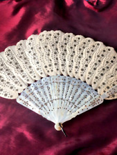 Antique French Cream Silk & Mother of Pearl Hand Fan Feather Style Original Box