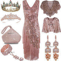 Rose Gold Dress 1920s Flapper Costumes Vintage Style Peacock Tassel Evening Gown