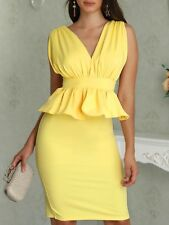 V-Neck Peplum Yellow Backless Bodycon Dress S size