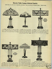 1923 PAPER AD Ornate Electric Table Lamp Glass Tiffany Type Torchere Art Metal