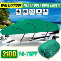Waterproof 210D 14-16FT Heavy Duty Boat Cover Trailerable Fishing Ski Bass Green