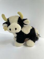 "Rare Russ Berrie Moo Moo Plush Stuffed Animal Cow Black White 11"" Vintage"