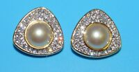 SWAROVSKI SWAN VINTAGE SAL Signed GOLD TONE MABE PEARL CRYSTALS CLIP ON EARRINGS