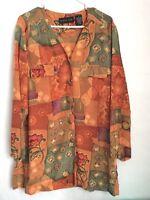 August Silk Womans BLouse  Size Medium Button Down Peach/Green/Multi 100% Silk